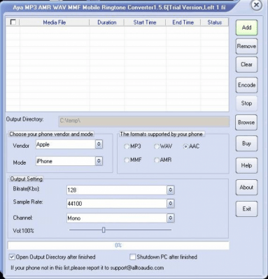 Aya MP3 AMR WAV MMF Ringtone Maker 1.7.1
