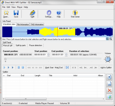Direct WAV MP3 Splitter 3.0