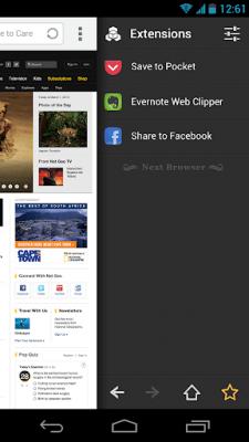 Facebook для Next браузера 1.11