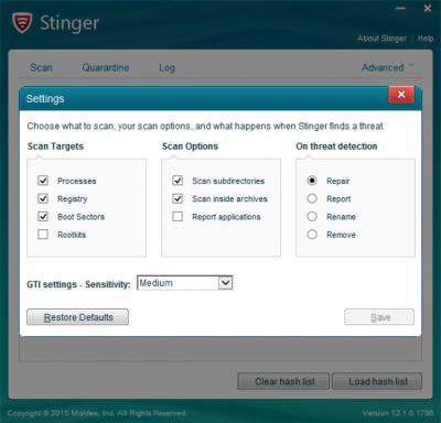 McAfee Stinger 12.1.0.3015