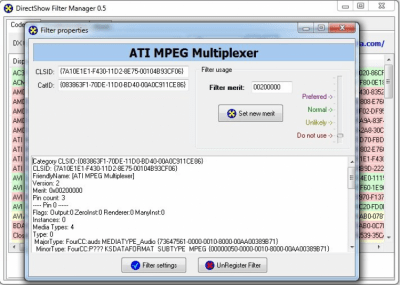 DirectShow Filter Manager 0.5