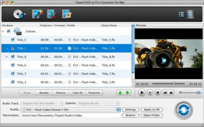 Tipard DVD to FLV Converter for Mac 3.6.26